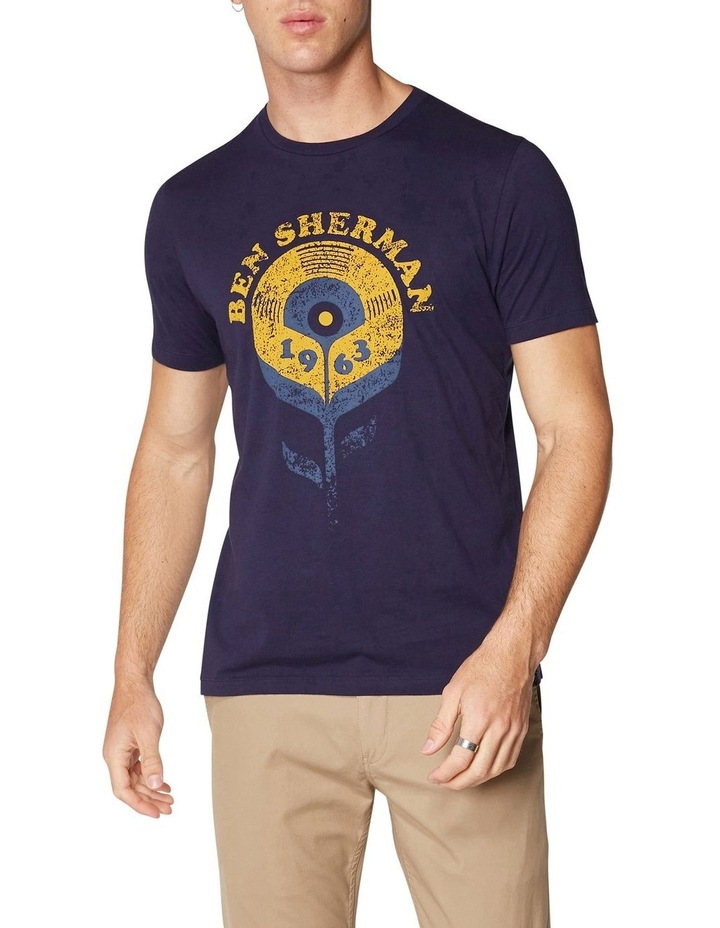 Record Flower T-Shirt Navy image 1