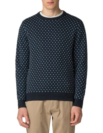 701c30d777541f Ben Sherman GEO KNIT CREW NECK DARK NAVY