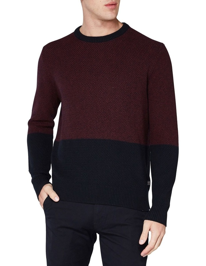 LS WAFFLE TEXTURE TWO TONE CREW PORT image 1