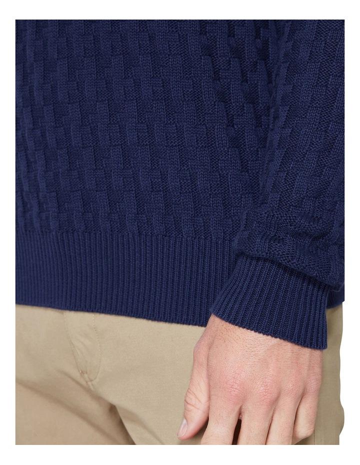 Long Sleeve Basketweave Crew Knit Navy image 6