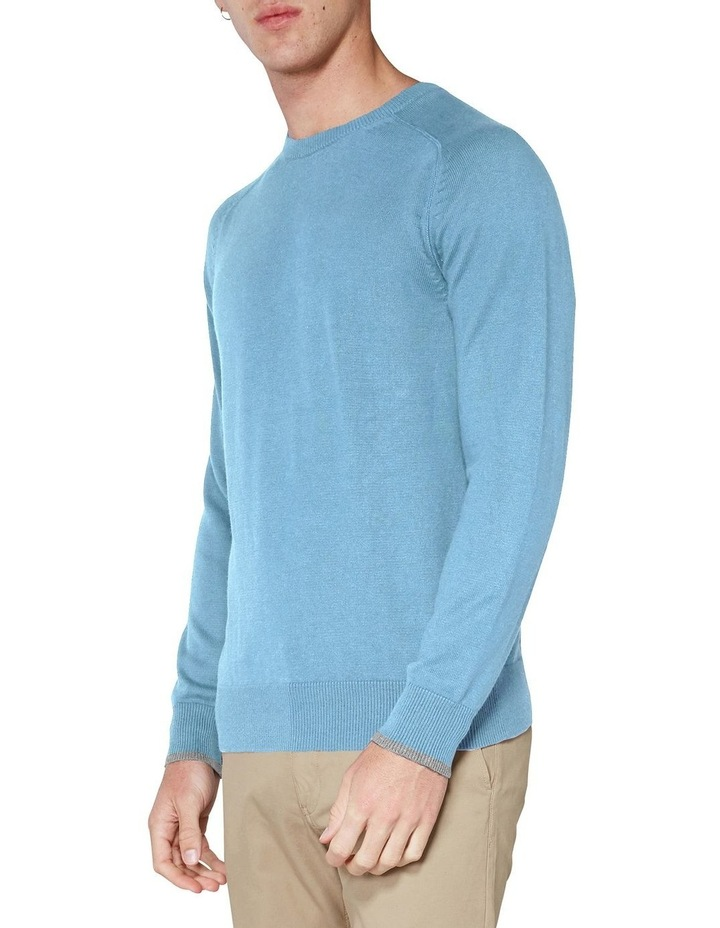 Crew Neck With Cuff Tipping Dusky Blue image 3