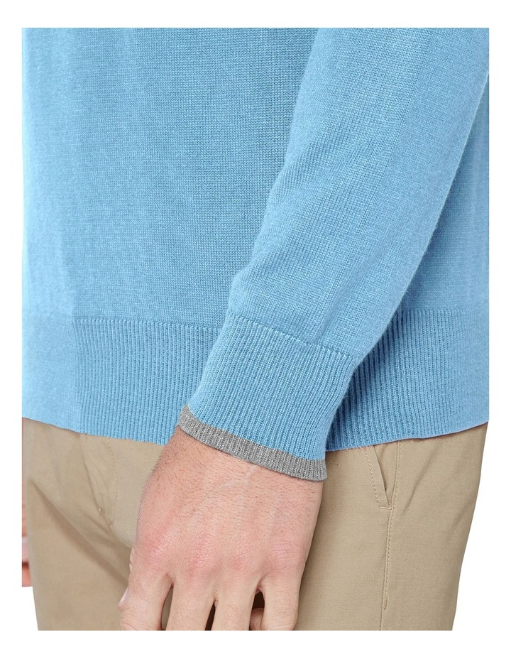 Crew Neck With Cuff Tipping Dusky Blue image 6