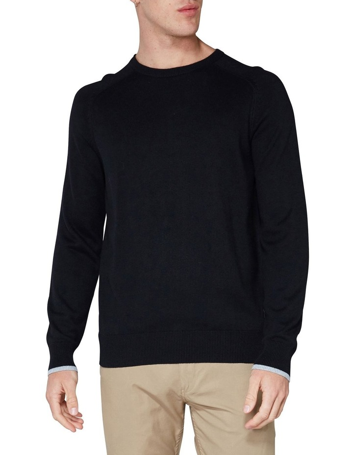 Crew Neck With Cuff Tipping Black image 1