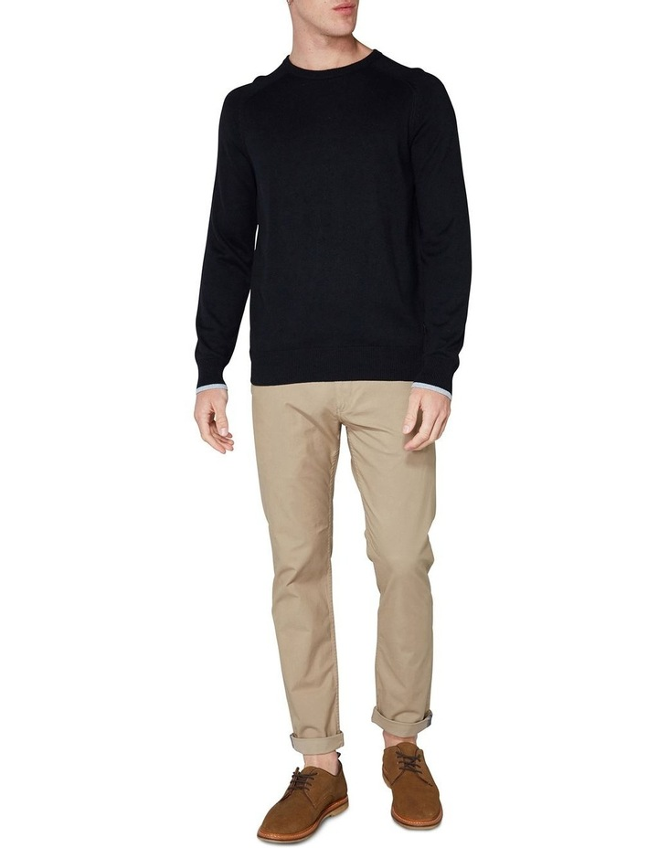 Crew Neck With Cuff Tipping Black image 4