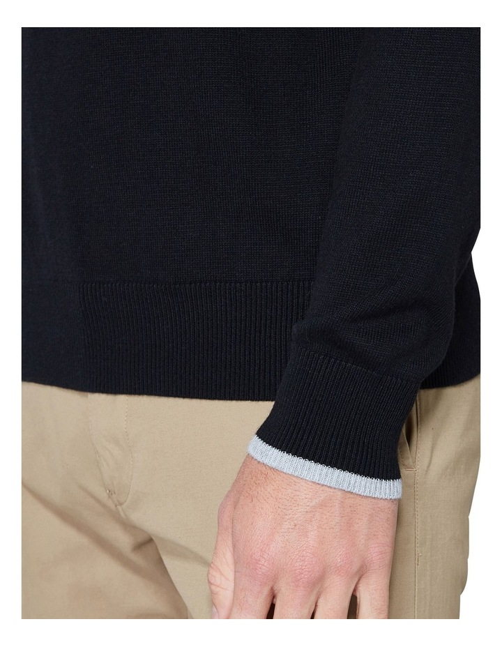 Crew Neck With Cuff Tipping Black image 6