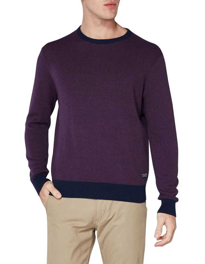 Long Sleeve Grid Two Tone Knit Crew Wine image 1