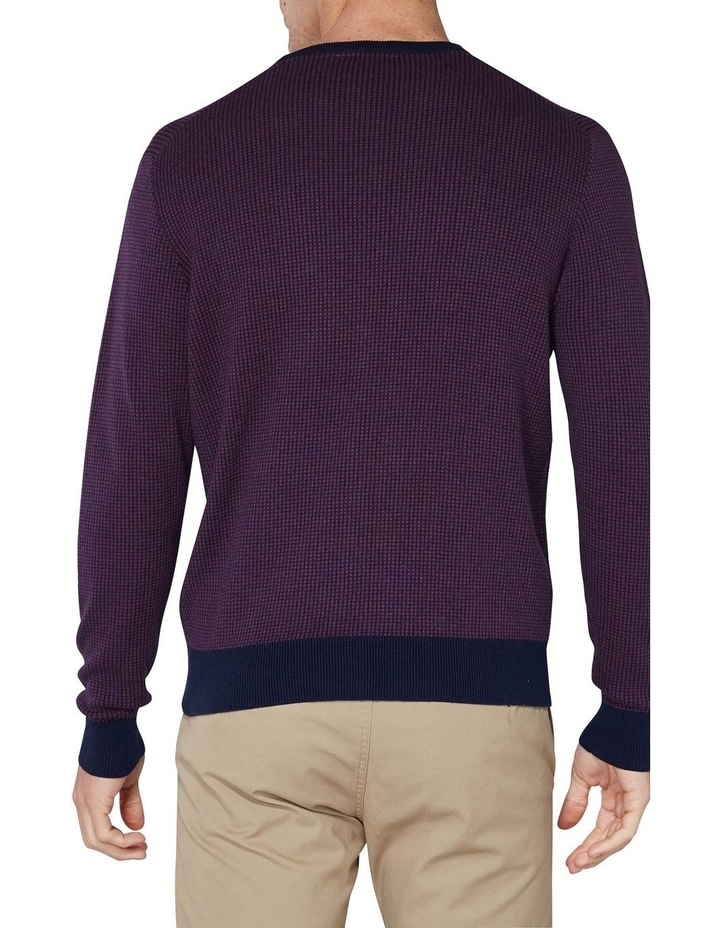 Long Sleeve Grid Two Tone Knit Crew Wine image 2
