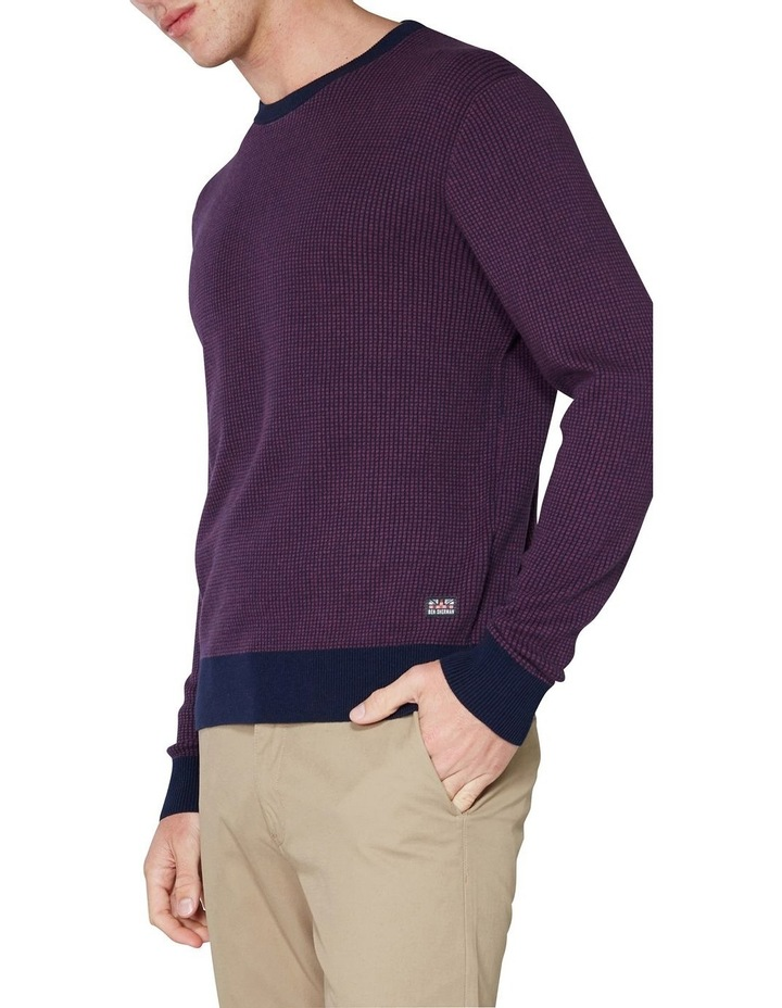 Long Sleeve Grid Two Tone Knit Crew Wine image 3