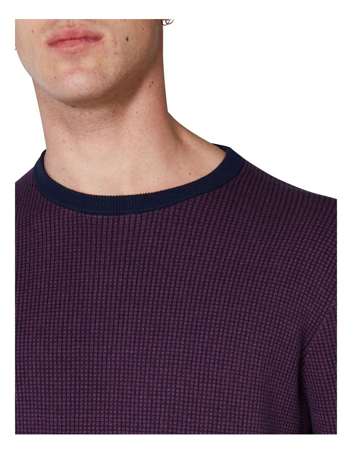 Long Sleeve Grid Two Tone Knit Crew Wine image 5