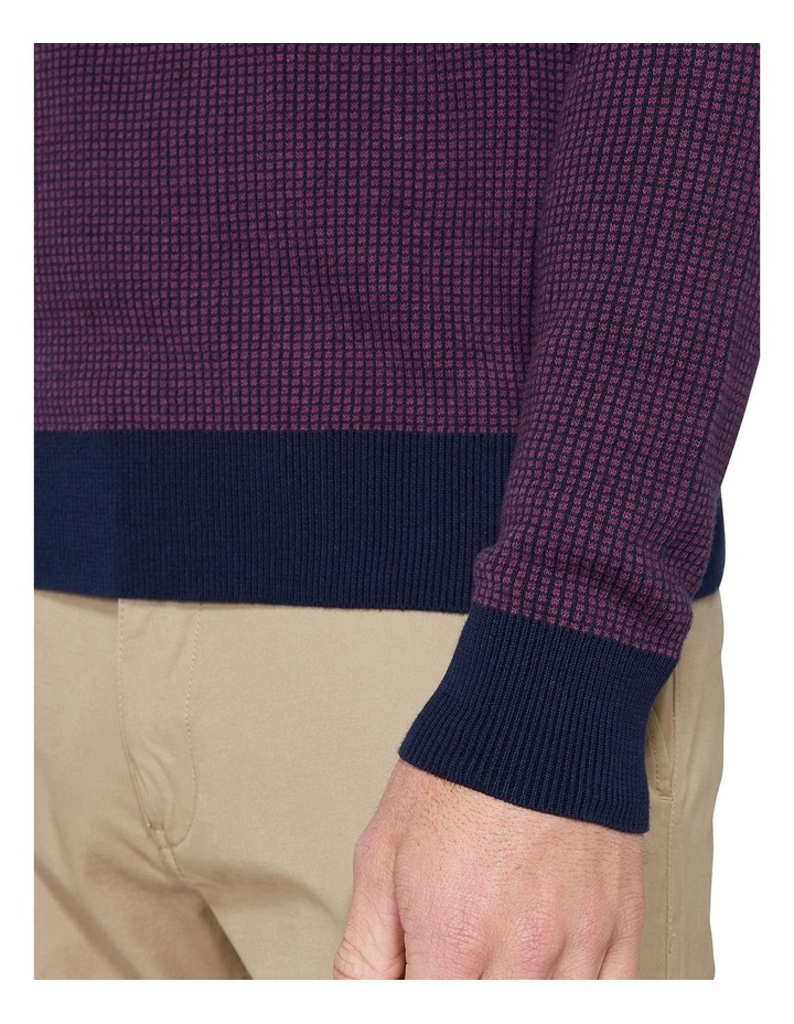 Long Sleeve Grid Two Tone Knit Crew Wine image 6