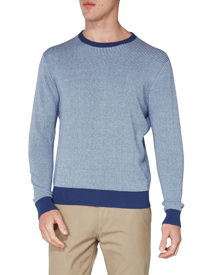 Long Sleeve Grid Two Tone Knit Crew Blue image 1