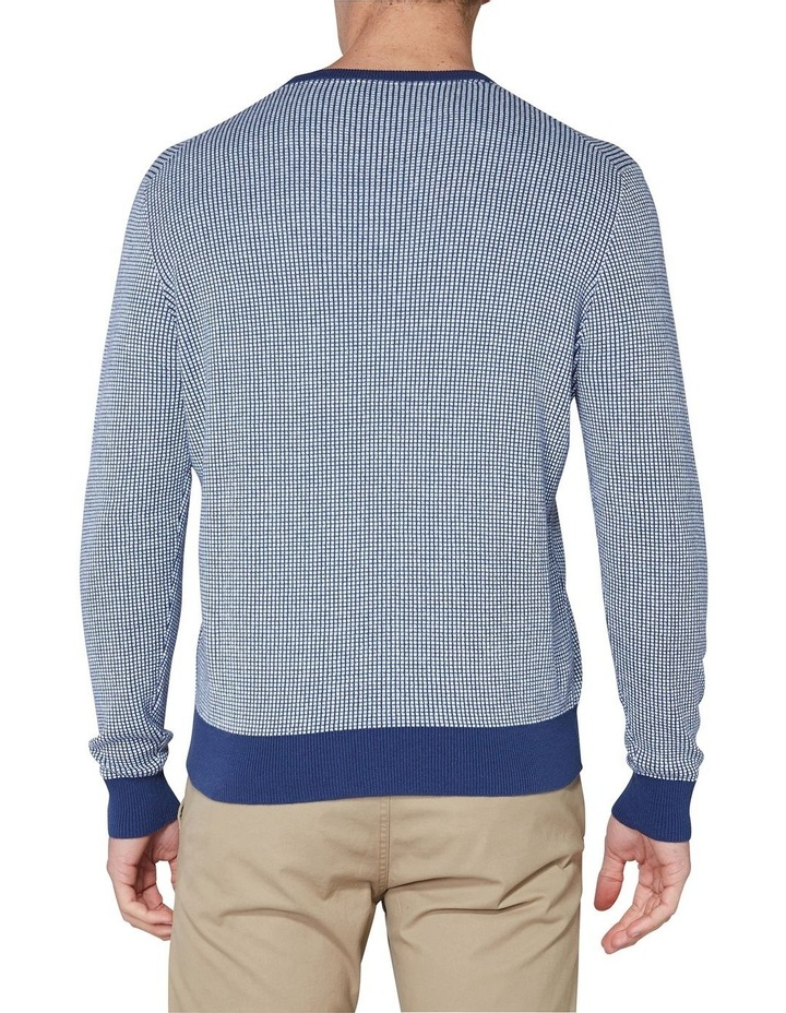 Long Sleeve Grid Two Tone Knit Crew Blue image 2
