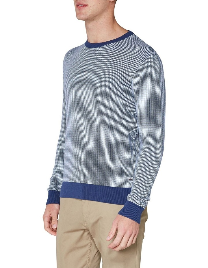Long Sleeve Grid Two Tone Knit Crew Blue image 3