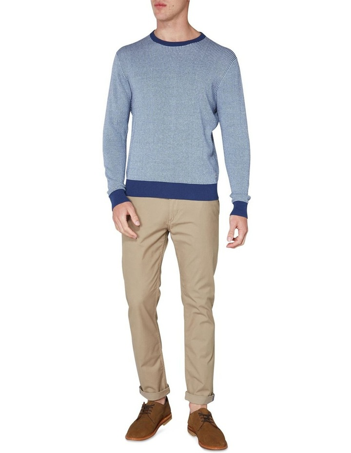 Long Sleeve Grid Two Tone Knit Crew Blue image 4