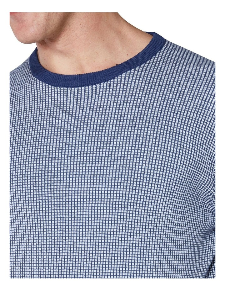 Long Sleeve Grid Two Tone Knit Crew Blue image 5