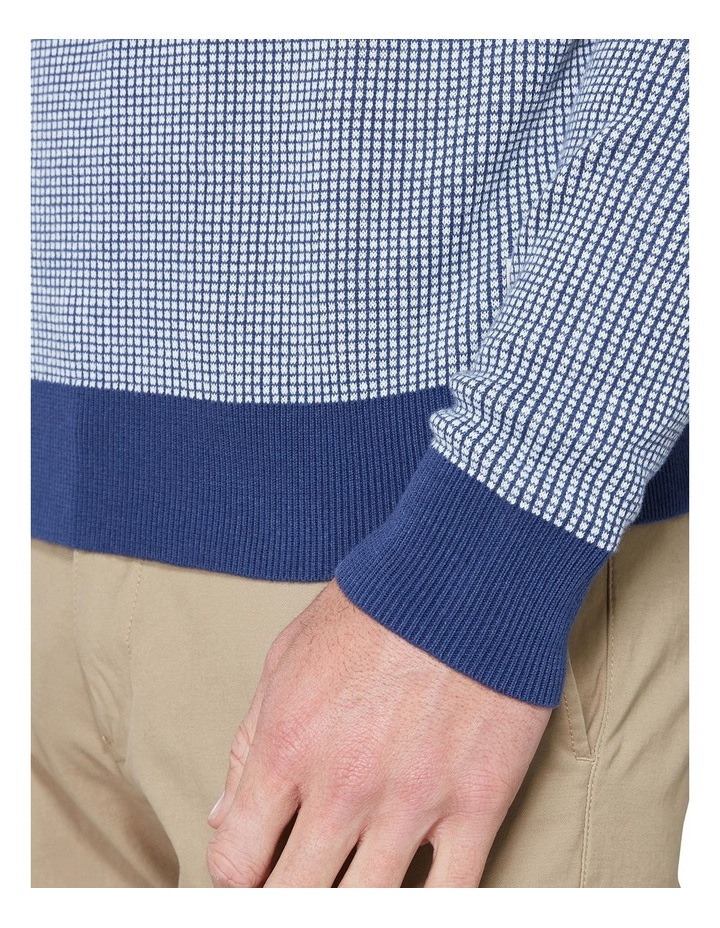 Long Sleeve Grid Two Tone Knit Crew Blue image 6