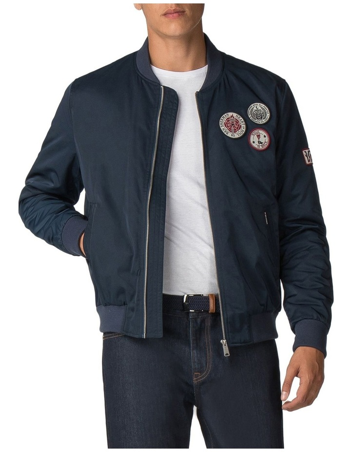 Sateen Badge Bomber Dark Navy image 1