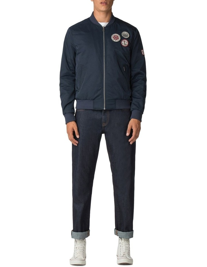 Sateen Badge Bomber Dark Navy image 2