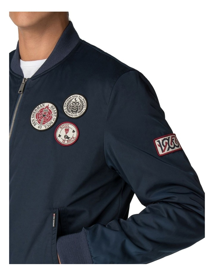 Sateen Badge Bomber Dark Navy image 4