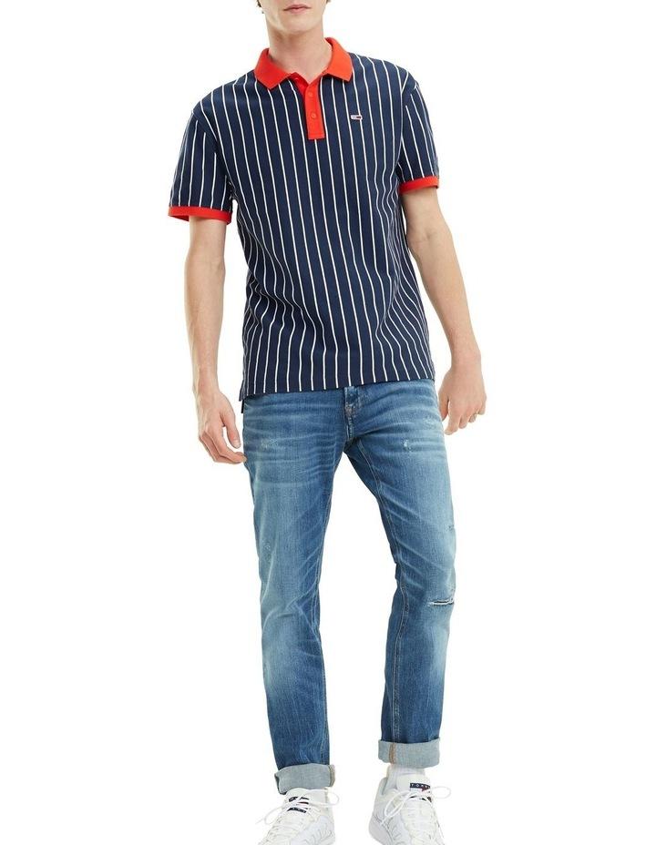 Retro Vertical Stripe Cotton Polo image 1