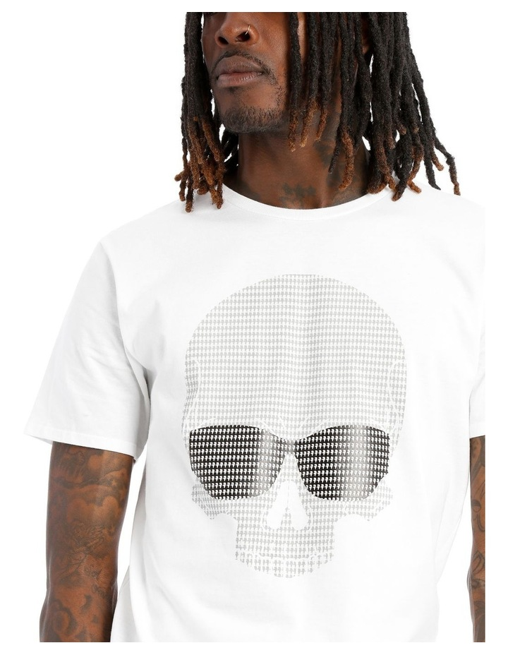 Camouflage Skull T-Shirt with Sunglasses - White image 4