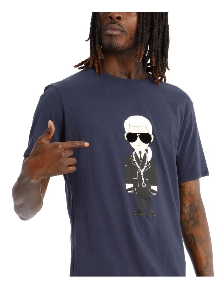 Karl Caricature with Sunglasses T-Shirt - Navy image 4