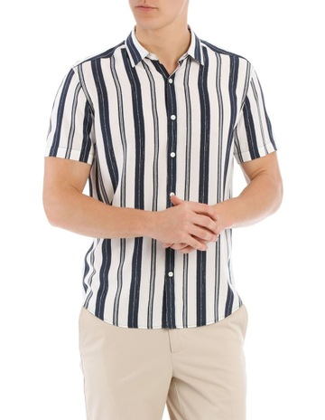 d1e56cf7336c BlaqAthens Stripe Short Sleeve Relaxed Shirt. Blaq Athens Stripe Short  Sleeve Relaxed Shirt