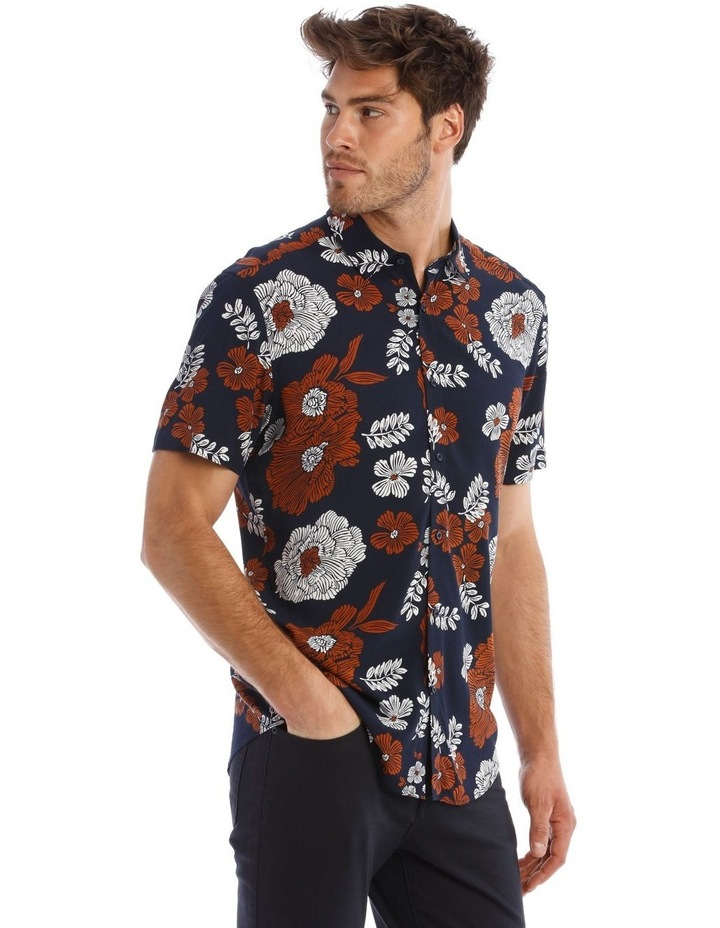 Nev Floral Print Short Sleeve Relaxed Shirt image 2