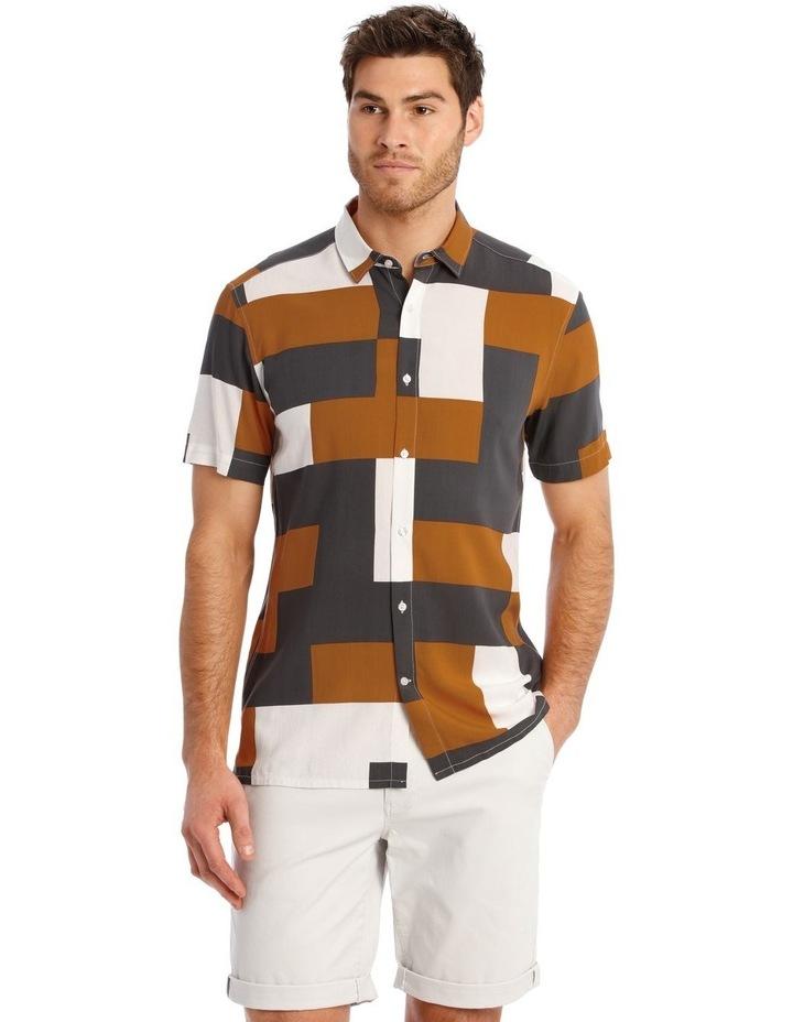 Caribbean Abstract Print Short Sleeve Viscose Shirt image 1