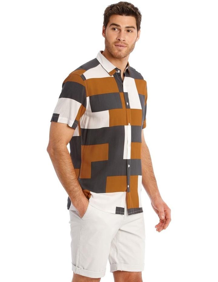 Caribbean Abstract Print Short Sleeve Viscose Shirt image 2