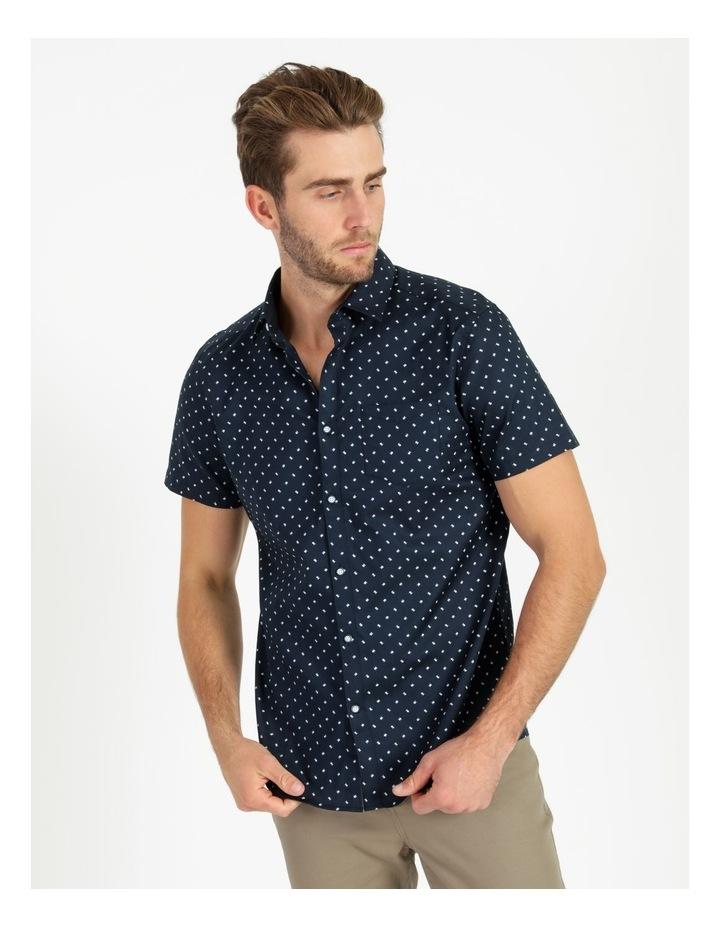 Winnie Geo Print Short Sleeve Relaxed Shirt Navy image 1