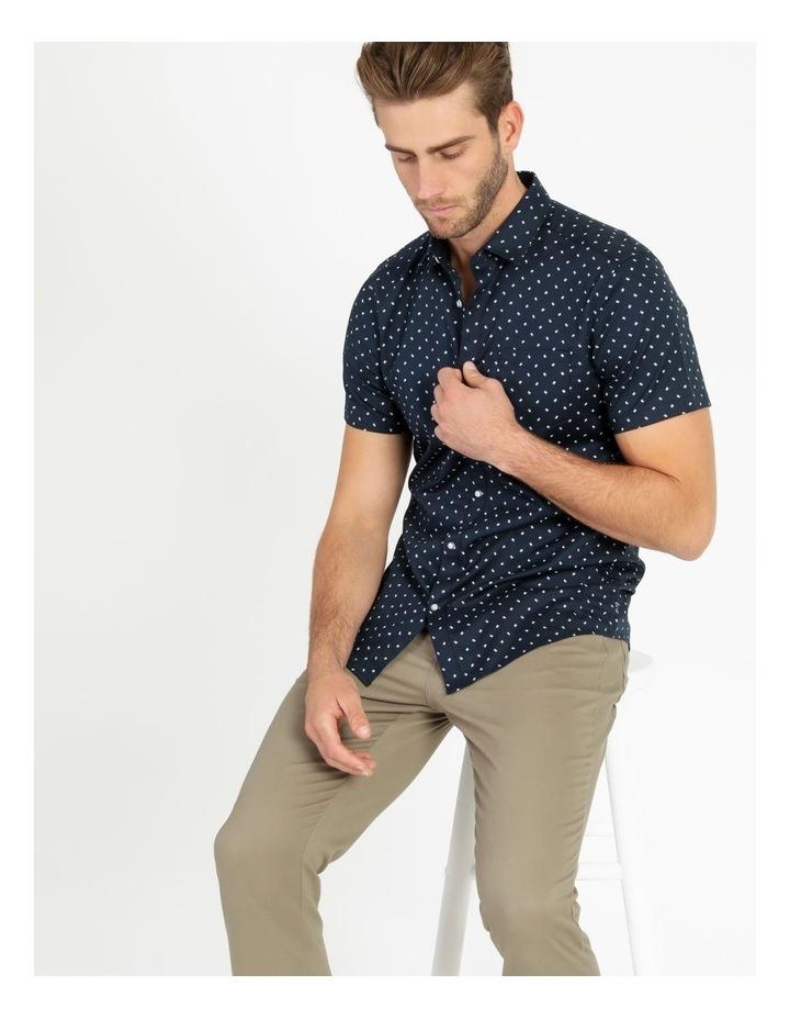 Winnie Geo Print Short Sleeve Relaxed Shirt Navy image 5