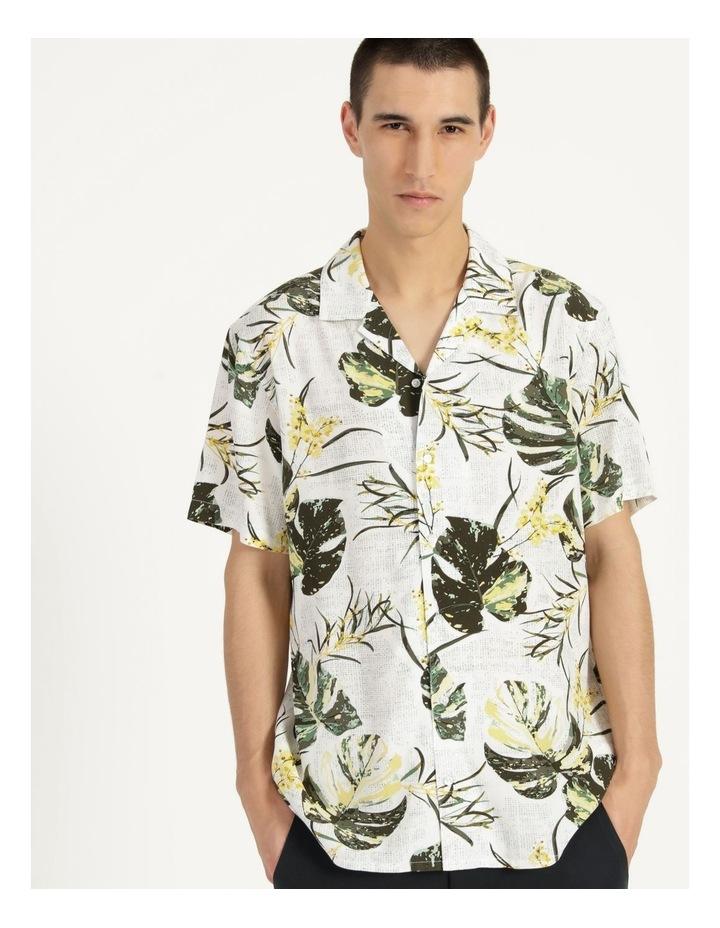 Monstera Floral Print Short Sleeve Viscose Shirt Green image 1