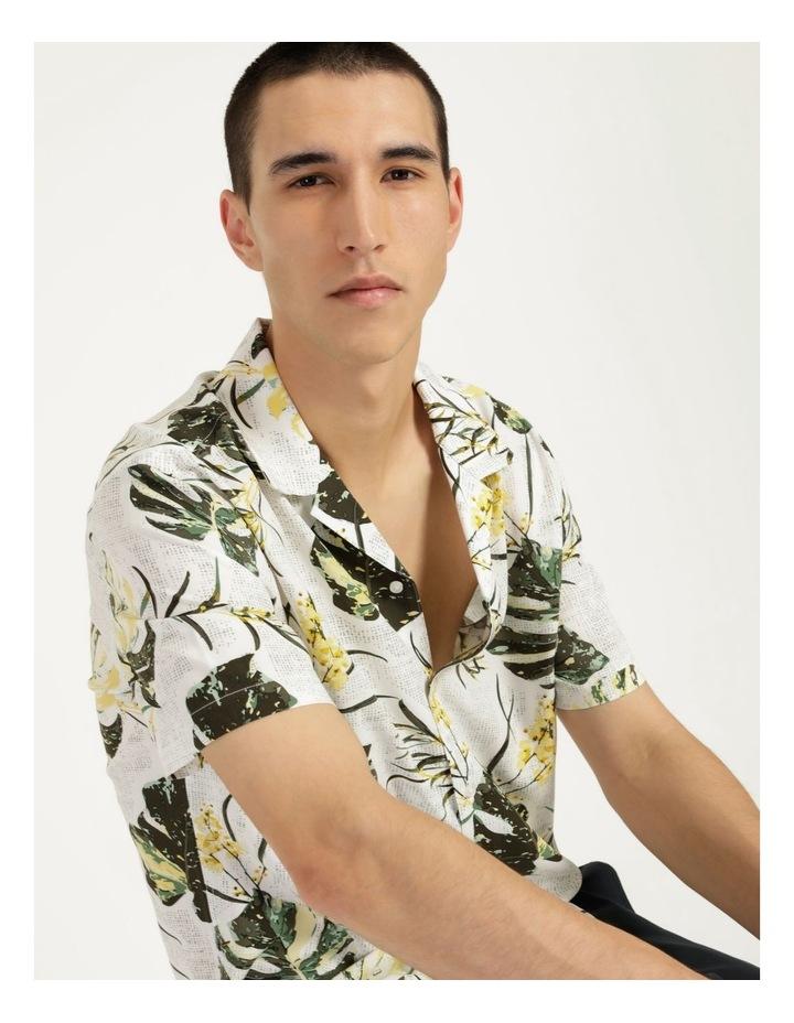 Monstera Floral Print Short Sleeve Viscose Shirt Green image 3