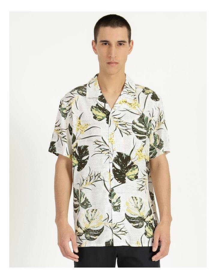 Monstera Floral Print Short Sleeve Viscose Shirt Green image 5