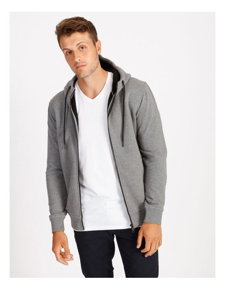 Jasper Hooded Sherpa Sweat Top - Grey image 1