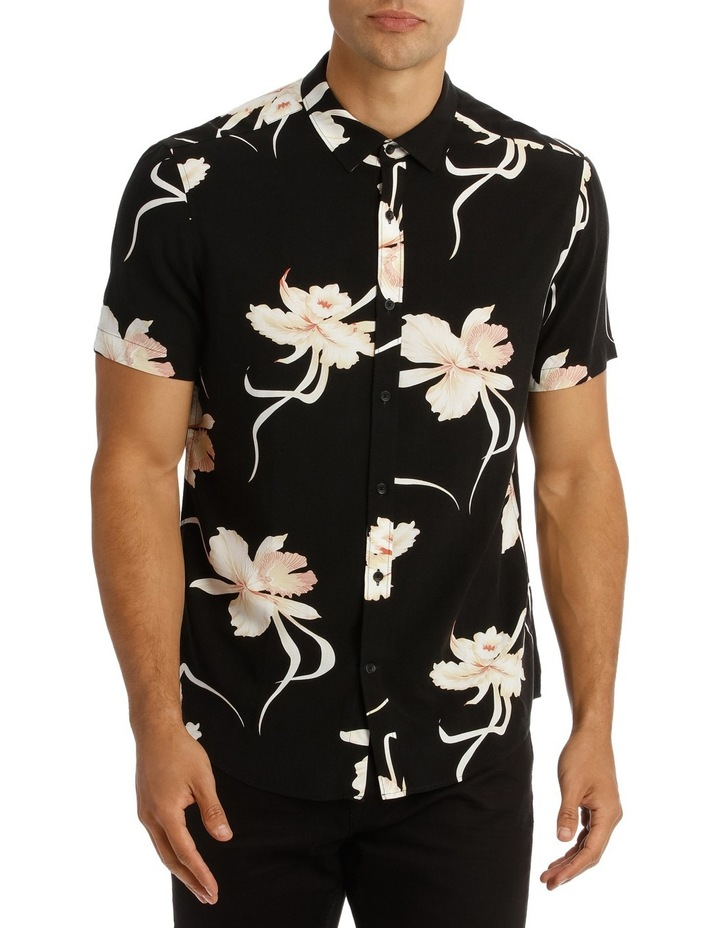 Champagne Floral Printed Short Sleeve Relaxed Shirt image 1