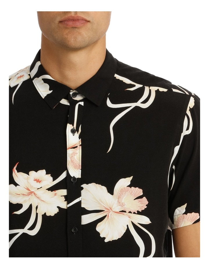 Champagne Floral Printed Short Sleeve Relaxed Shirt image 4