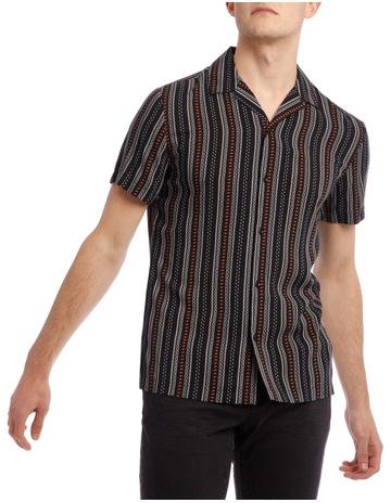4318a5660e0a BlaqZulu Printed Stripe Short Sleeve Resort Shirt. Blaq Zulu Printed Stripe Short  Sleeve Resort Shirt