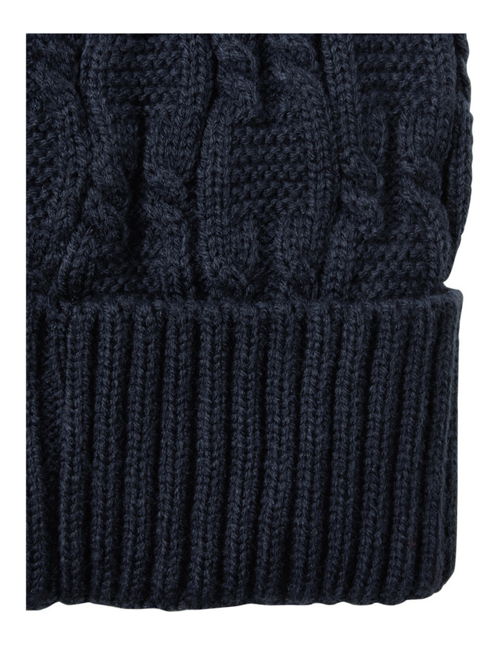 Trent Nathan Cable Knit Navy Beanie Gha1035m image 2