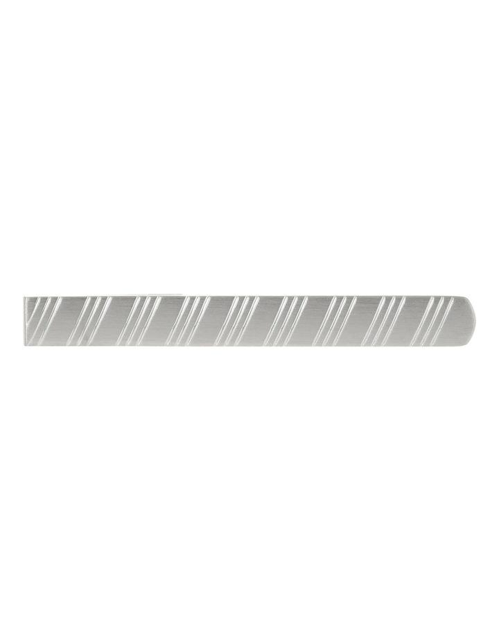 Brush Rhodium Stripe Tie Bar image 1