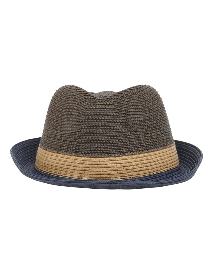 Flynn Colourblock Trilby Navy Combo Hat image 1