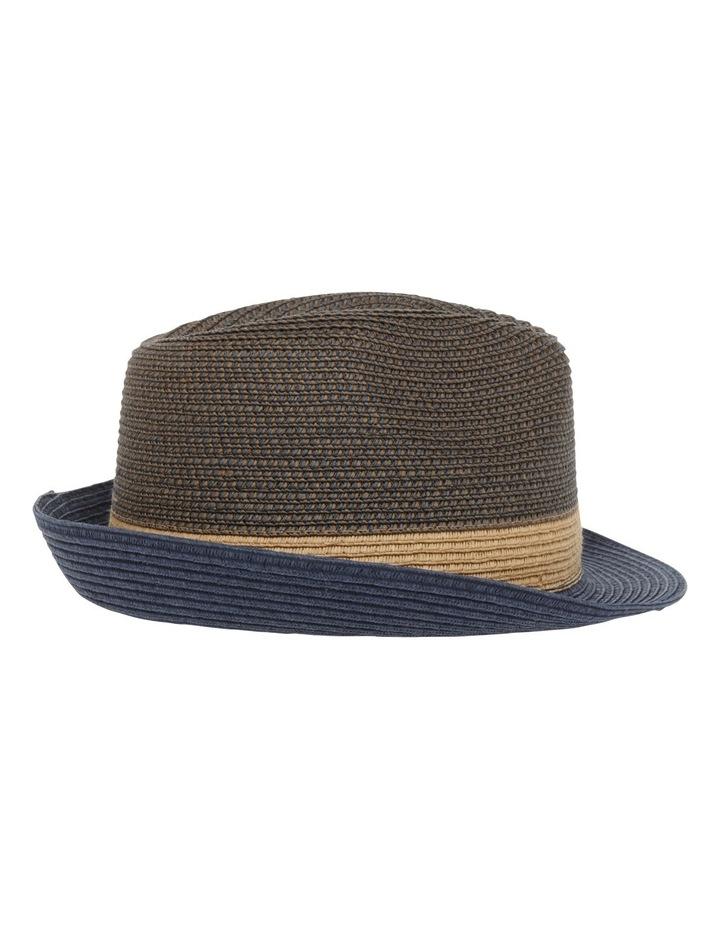 Flynn Colourblock Trilby Navy Combo Hat image 2