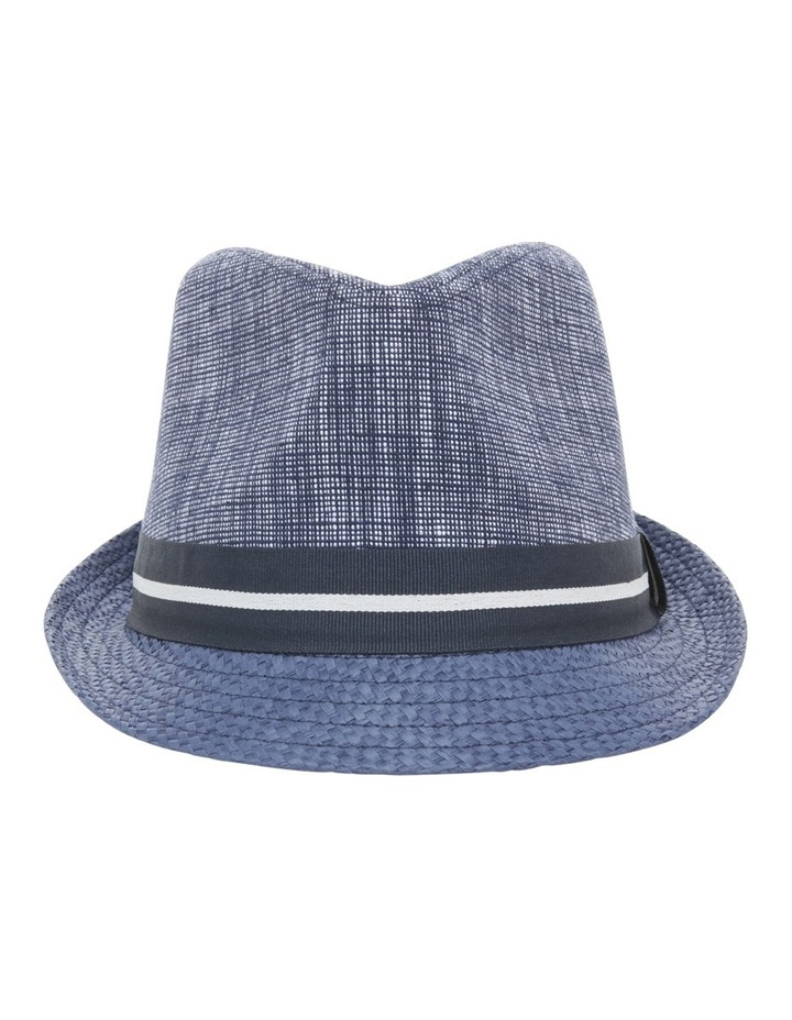 Chambray Stripe Band Trilby Navy Hat image 1