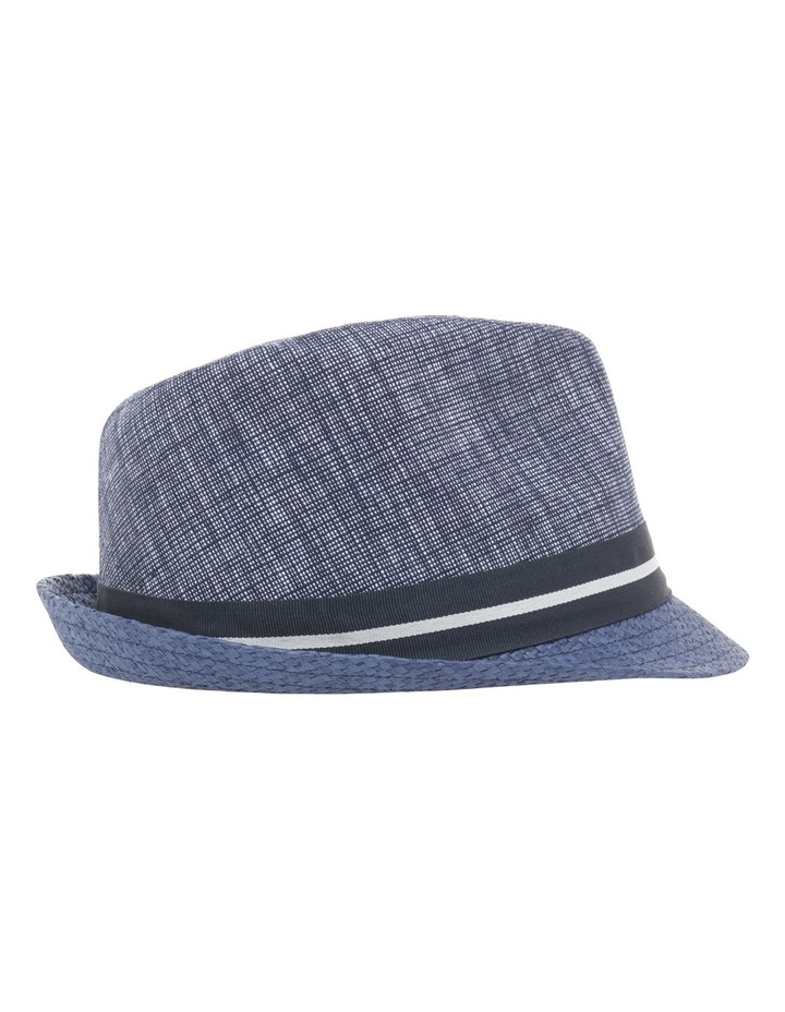 Chambray Stripe Band Trilby Navy Hat image 2