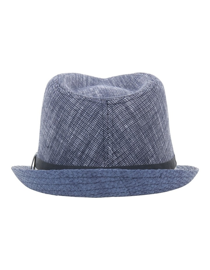 Chambray Stripe Band Trilby Navy Hat image 3