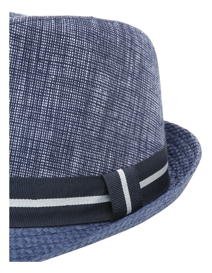 Chambray Stripe Band Trilby Navy Hat image 4