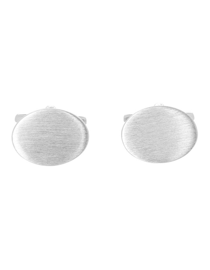 Brushed Rhodium Oval Cufflinks image 1