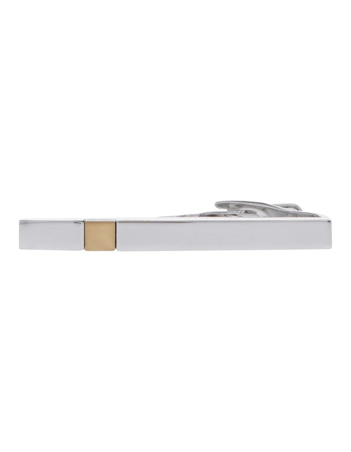 Polished Rhodium/Gold Tie Bar image 1