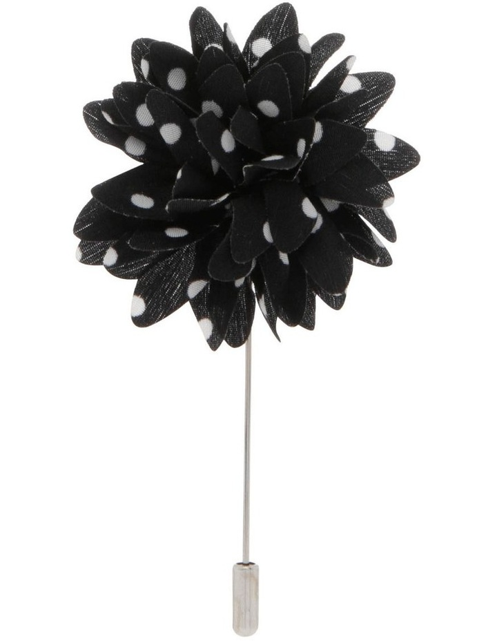Black/White spot Flower Lapel Pin image 1